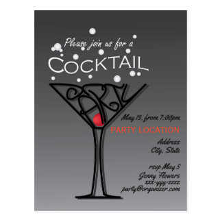 Cocktail party invitation design postcard