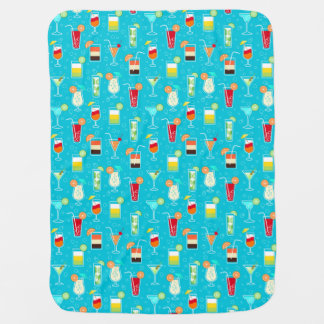 Cocktail Pattern on Teal Background Baby Blanket