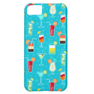 Cocktail Pattern on Teal Background iPhone 5C Case