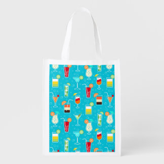 Cocktail Pattern on Teal Background Reusable Grocery Bag
