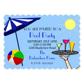 Cocktail Pool Party 13 Cm X 18 Cm Invitation Card