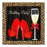 Cocktails Red High Heel Shoes Leopard Birthday Personalized Announcement