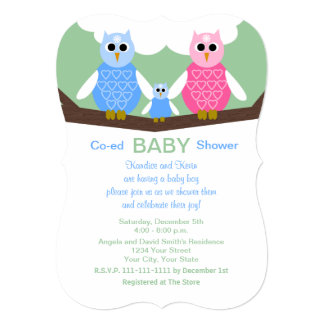 Coed Couples Owls Baby Boy Shower Invitation