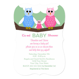 Coed Couples Owls Baby Girl Shower Invitation
