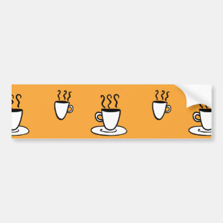 Coffe mug pattern in mustard yellow bumper sticker