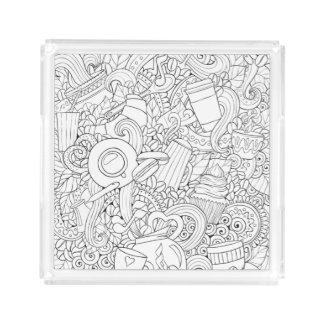 Coffee And Tea Doodle Acrylic Tray