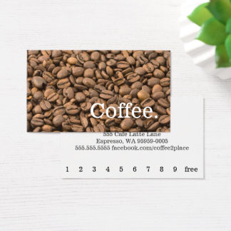 Coffee Bean Background Loyalty Punch-Card Business Card