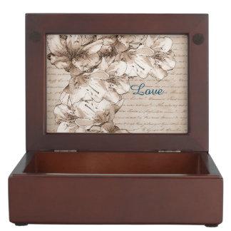 Coffee Brown Illustrated Flower Floral Pattern Keepsake Box