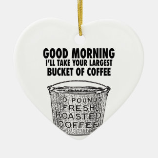 Coffee by the bucket ceramic heart decoration