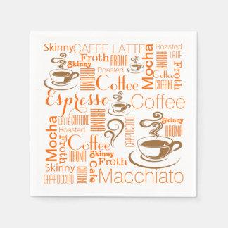 Coffee chic orange brown paper napkins