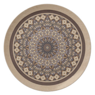 Coffee Colors Abstract Mandala Plate