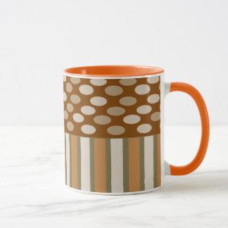Coffee Cream Stripes and Ovals Ringer Mug