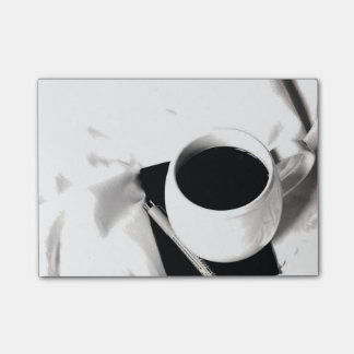Coffee Cup Black and White Breakfast in Bed Post-it® Notes