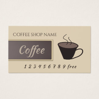 Coffee cup loyalty punch-card business card