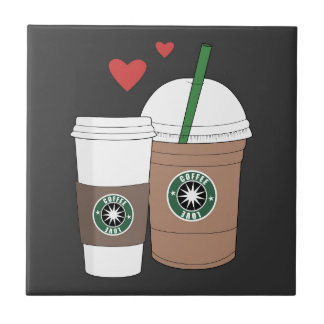 Coffee cups in love! small square tile