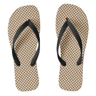 Coffee Geometric Pattern Adult, Wide Straps Thongs