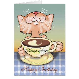 Coffee Loving Tabby blank card