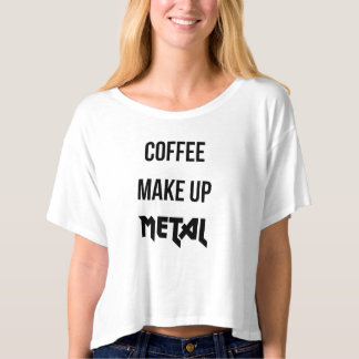 Coffee Makeup Metal Slogan Black White Crop Top