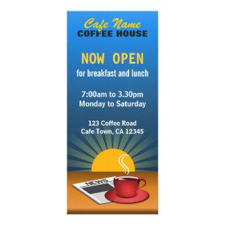 Coffee Menu Shop Custom Blue Cafe Rack Cards