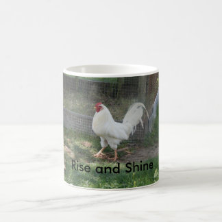 "Coffee Mug  White Rooster ""Rise and Shine"""