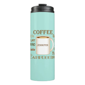 Coffee Names Aqua Personalised Thermal Tumbler