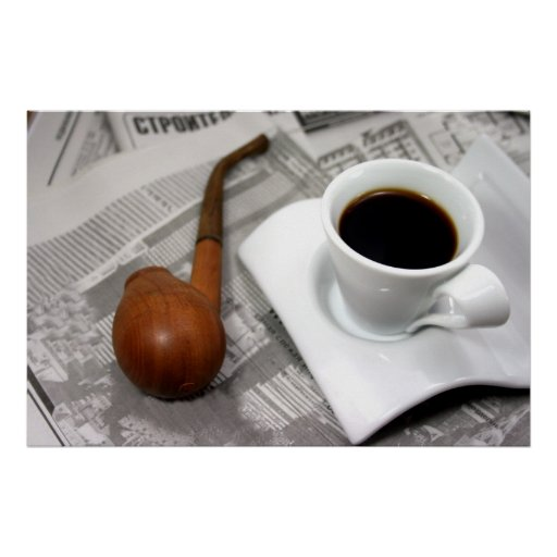 Coffee, newspaper, and a pipe posters