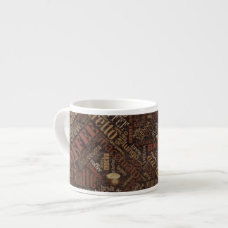 Coffee on Burlap Word Cloud Brown ID283 Espresso Cup