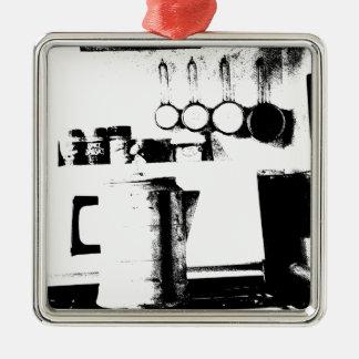 Coffee Pot Silver-Colored Square Decoration