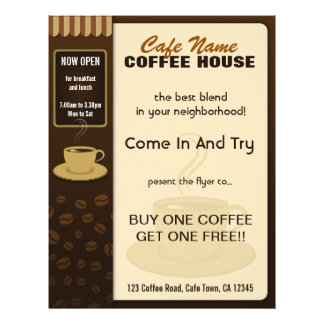 Coffee Shop Cafe Coffee Cup Flyers and Coffee Menu Full Color Flyer
