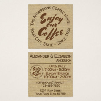 """Coffee Shop """"Enjoy Our Coffee"""" Square Business Card"""
