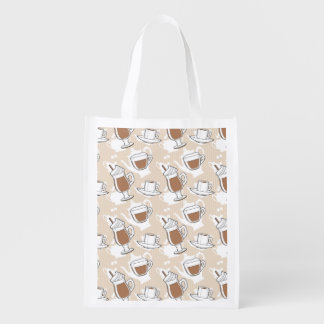 Coffee, sweet pattern reusable grocery bag