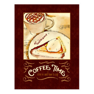 Coffee Time Caramel Macchiato Pumpkin Pie Teatime Postcard