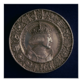 Coin bearing the portrait of Charles V Poster