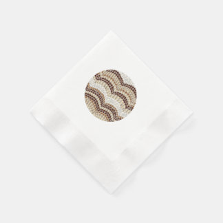 Coined cocktail napkins with beige mosaic disposable serviettes