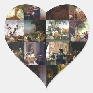 Collage of paintings of van Gogh, Vermeer, etc Heart Sticker