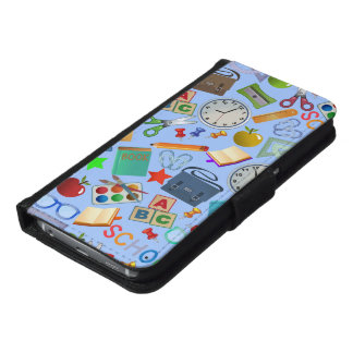 Collage of School Supplies Samsung Galaxy S6 Wallet Case