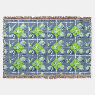 Collage of Seashells Slate Blue & Lime Green Throw Blanket