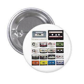 Collection of Retro Audio Cassette Tapes 3 Cm Round Badge