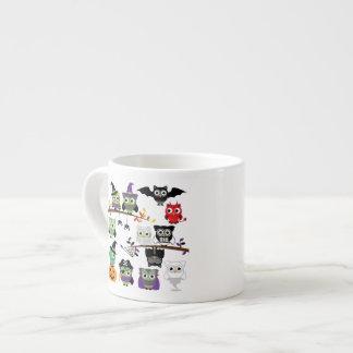 Collection Of Spooky Halloween Owls Espresso Mug