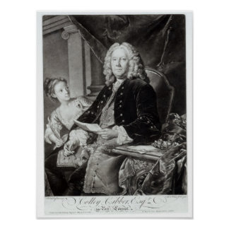 Colley Cibber  1758, engraved by Edward Fisher Poster