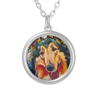COLLIE 3 SILVER PLATED NECKLACE
