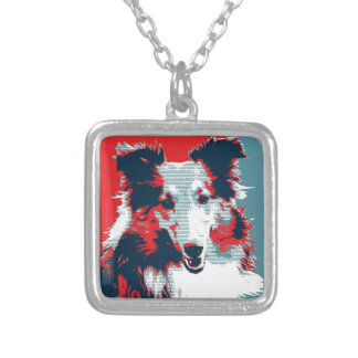 Collie Hope Parody Poster Silver Plated Necklace