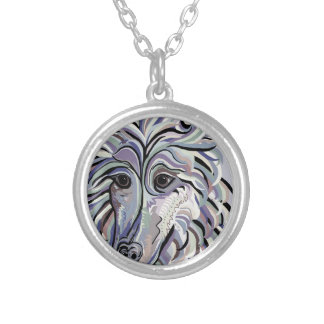 Collie in Denim Colors Silver Plated Necklace