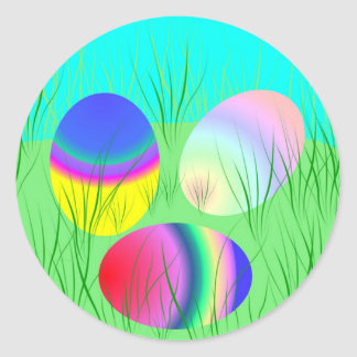 Coloful Easter eggs Round Sticker