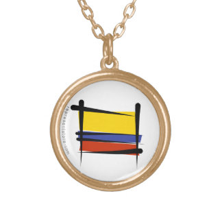 Colombia Brush Flag Gold Plated Necklace