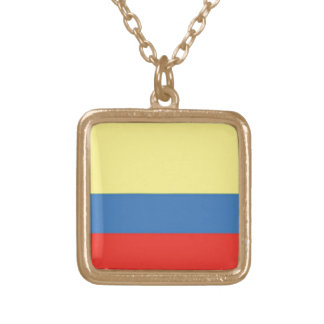 Colombia Flag Gold Plated Necklace