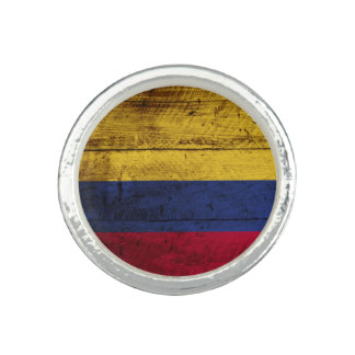 Colombia Flag on Old Wood Grain