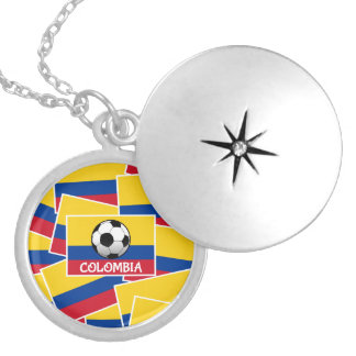 Colombia Football Silver Plated Necklace