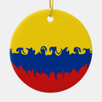Colombia Gnarly Flag Round Ceramic Decoration