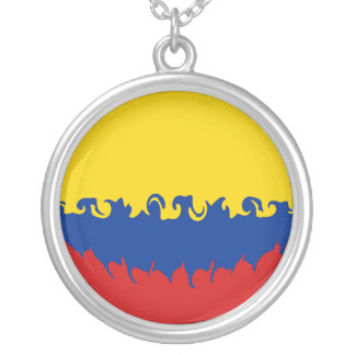 Colombia Gnarly Flag Round Pendant Necklace